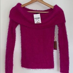 NWT PINK FUZZY OFF THE SHOULDER SWEATER